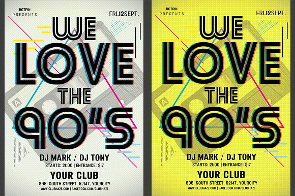 90s retro party flyer template flyer templates creative market