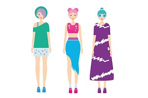 Modern fashion girls. colorful hair