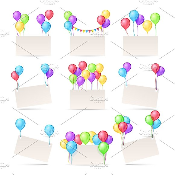 Greeting Cards With Color Balloons