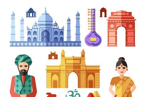 India icons with national landmarks
