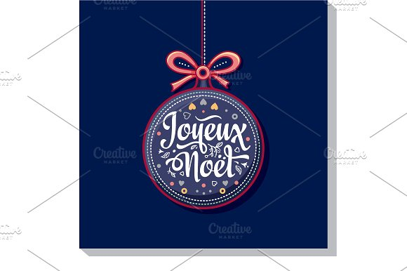 Christmas Card Noel Purple Baube