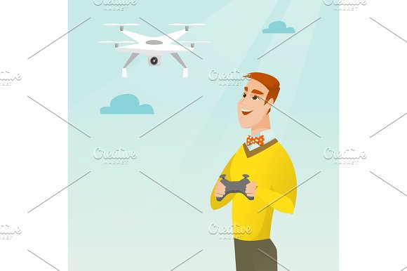 Young Caucasian Man Flying Drone
