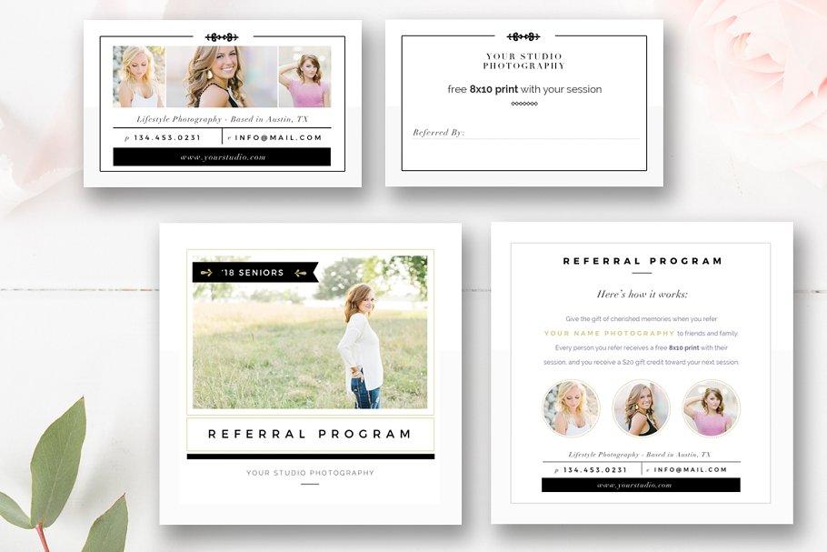 Photo Referral Card Templates Creative Photoshop Templates Creative Market