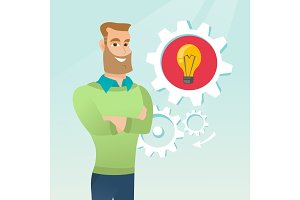 Caucasian man with business idea lightbulb in gear
