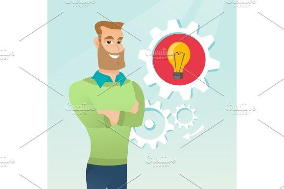 Caucasian Man With Business Idea Lightbulb In Gear