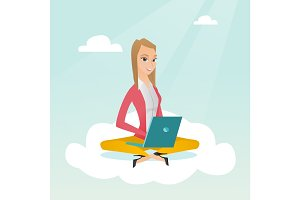 Caucasian woman using cloud computing technologies