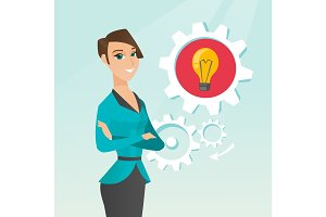 Caucasian woman with business idea bulb in gear.