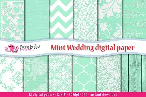 Mint Wedding digital paper