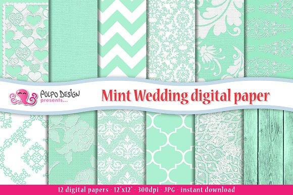 Mint Wedding Digital Paper