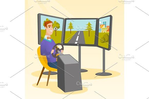 Caucasian man playing video game with gaming wheel