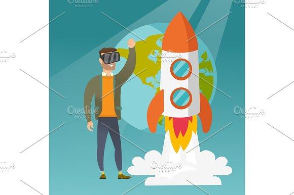 Caucasian man in vr headset flying in open space.