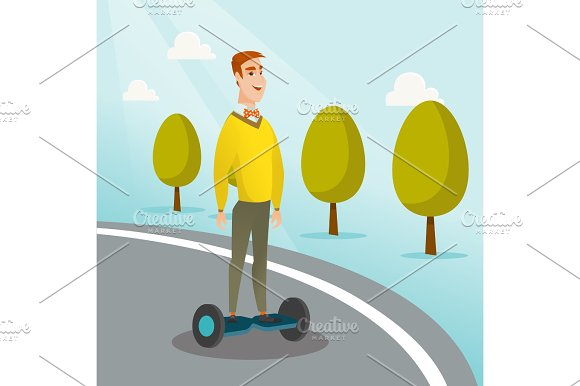 Man riding on self-balancing electric scooter.