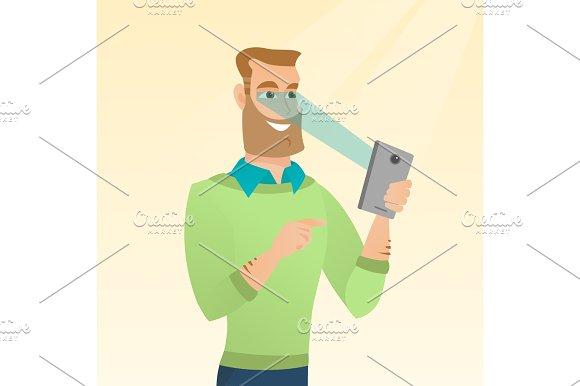 Man using iris scanner to unlock his mobile phone.