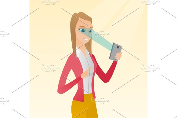 Woman using iris scanner to unlock mobile phone. in Illustrations