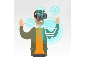 Man in virtual reality headset shopping online.