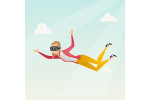 Business woman in vr headset flying in the sky.