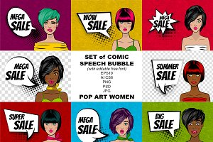 Set pop art women and speech bubbles
