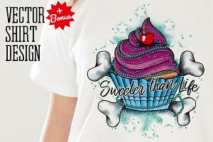 Cupcake Tattoo Style Vector