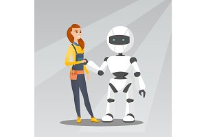 Young caucasian woman handshaking with robot.