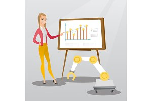 Woman and robot giving business presentation.