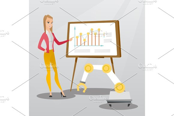 Woman And Robot Giving Business Presentation