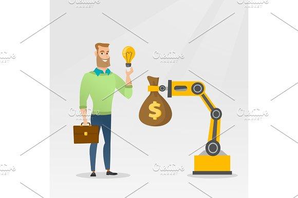 Man Selling Idea Of Engineering Of Robotic Hand