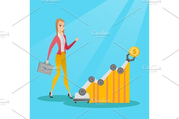 Woman Looking At Profit Chart With Robotic Arm