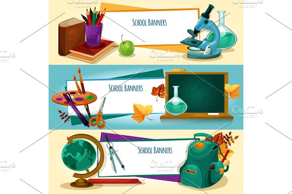 School Supplies And Stationery Banners Templates