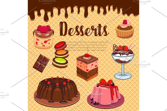 Bakery Shop Pastry Desserts Vector Wafer Poster