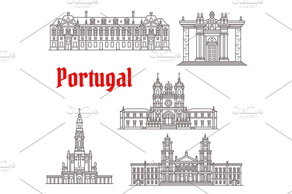 Portugal Architecture Famous Landmark Vector Icons