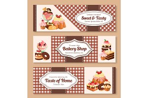 Bakery shop desserts vector banners set