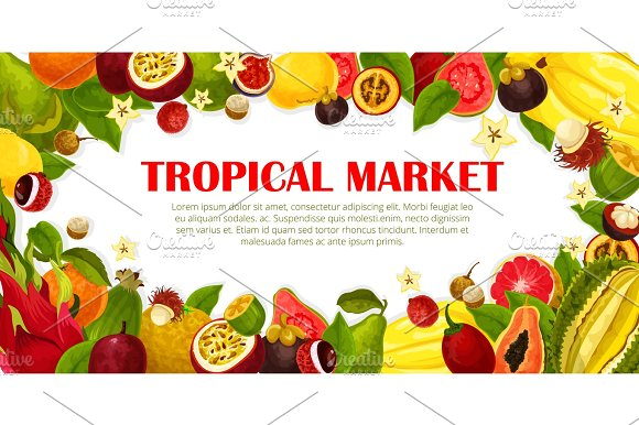 Vector Poster Of Exotic Fruits For Tropical Market
