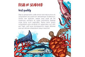 Vector fresh seafood and fish food poster