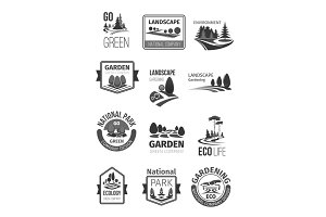 Gardens and parks landscape design vector icons