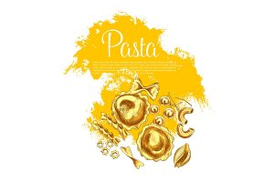 Italian pasta and spaghetti sketch poster design