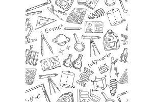 School science vector sketch seamless pattern