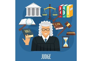Vector poster of judge profession or advocacy