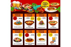 Vector menu price cards of German cuisine
