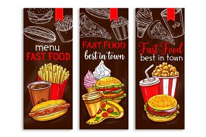 Vector banners for fast food restaurant menu