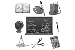 School study or education vector icons set