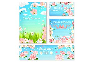 Summer time flowers banner and poster template set