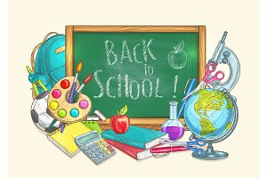 Back to school welcome banner background