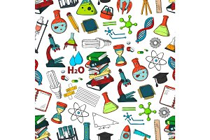 School or science items vector seamless pattern