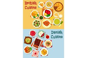 British and danish cuisine icon set design