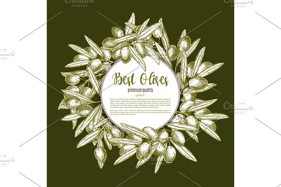 Green Olive Wreath Sketch Poster Design