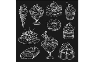 Cake and ice cream chalk sketch on blackboard