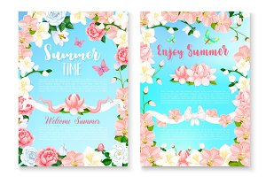 Summer season greeting card set with flower frame