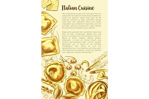 Italian pasta vector poster for cuisine template