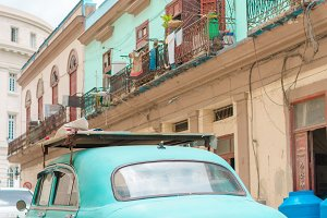 Closeup of mint classic vintage car in Old Havana, Cuba