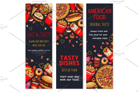 Vector Banners Set Of Fast Food Restaurant Meals
